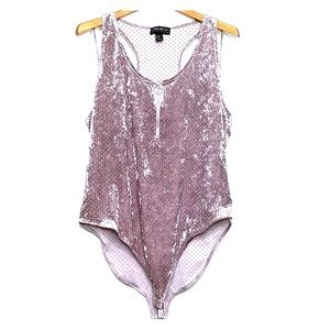FOREVER 21 PLUS Blush Pink Zipper Front Bodysuit